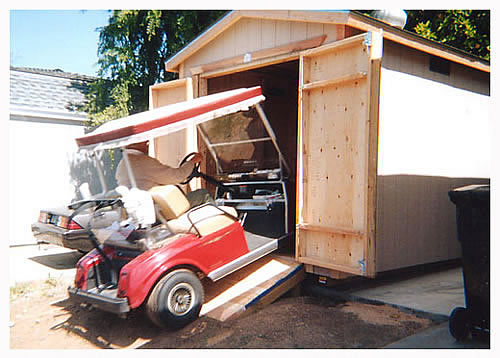 Golf cart storage shed plans greenhouse planters for Golf cart plans